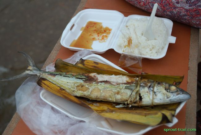 Grilled fish, wrapped in traditional banana leaf and then, strangely, 2 layers of plastic