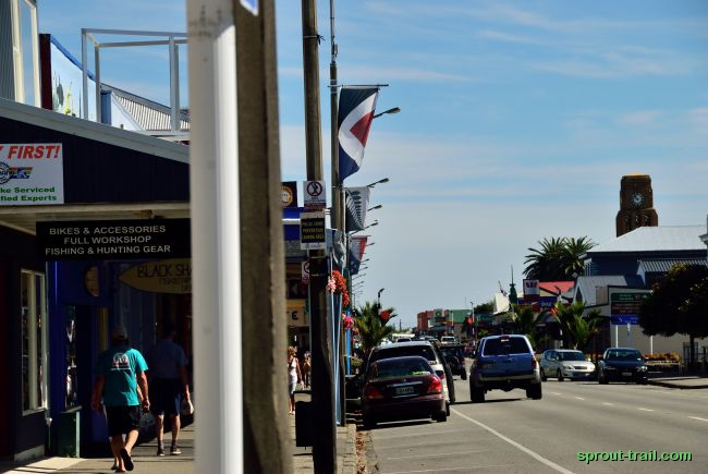 The high street - complete with potential new Kiwi flags